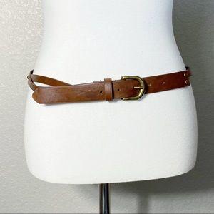 Brown Faux Leather Twisted Brass Riveted Belt